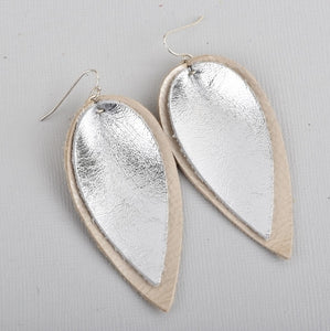Double Layer Leaf Leather Earrings