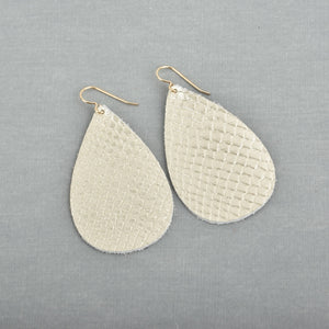 Champagne Metallic Leather Teardrop Earrings