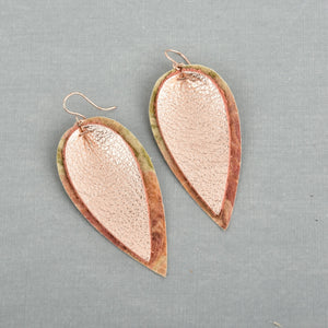 Rose Gold Double Leaf Leather Earrings