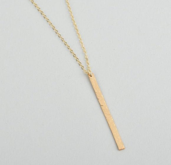 Vertical long and skinny hammered bar necklace