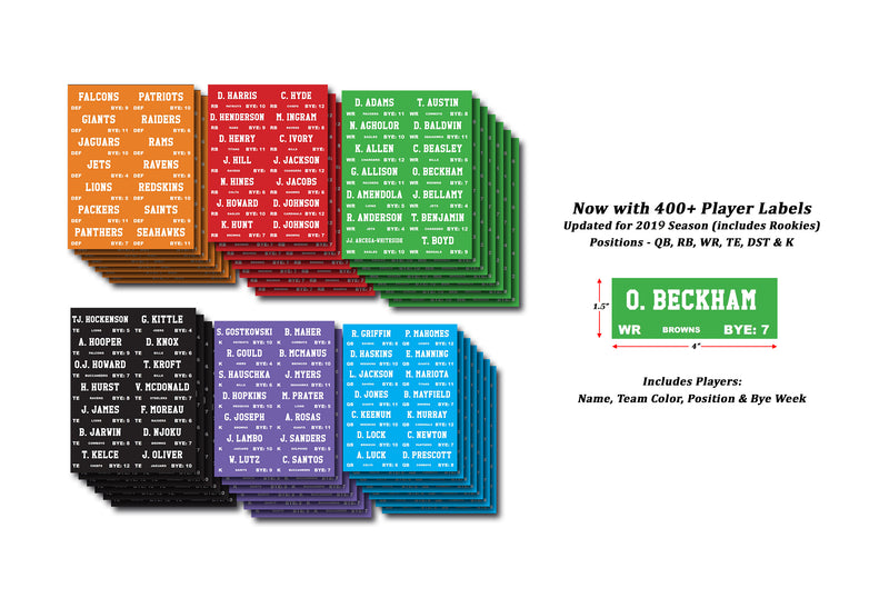 Fantasy Football Draft Labels Over 400 Player Stickers Color Coded By Position - Fantasybros.us