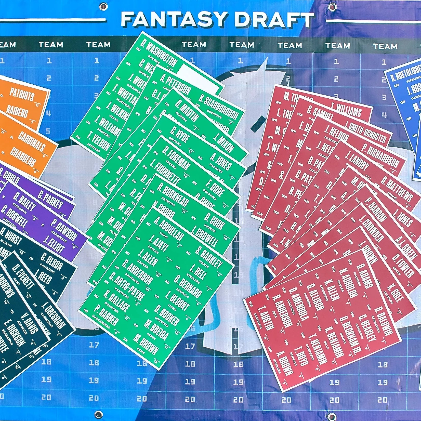 2018 Fantasy Football Draft Board Kit With Over 400 Player Labels - Fantasybros.us
