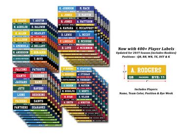 Fantasy Football Draft Labels Over 400 Player Stickers Color Coded By Team