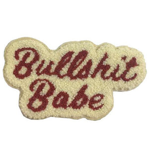 by 1606 Supply Co. Bullshit Babe Chenille Patch with iron-on backing. Measures 4 1/4 x 2 3/8 inches. Also available in store at FOLD Gallery in DTLA.