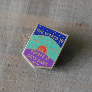 by 1606 Supply Co. The World is Big John Muir Pin. This nickel plated enamel pin comes with a rubber pin back. Measures 1 x 1.25 inch. Also available in store at FOLD Gallery DTLA.