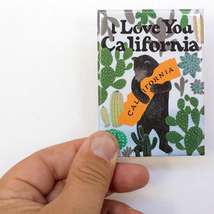 By 3 Fish Studios. Beautiful, super strong Cactus Bear Magnet, made in the USA. Ready for your fridge or file cabinet! Measures 2.5 x 3.5 inches. Also available in store at FOLD Gallery in DTLA.