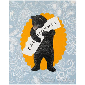 by 3 Fish Studios. The California Bear Blue Floral Print features: 8-color UltraChrome K3™ inks on 300 gsm Hot Press Bright paper. Archival, highest possible quality. Watermark will not appear on print. Measures 8x10 inches. Also available in store at FOLD Gallery in DTLA.
