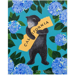 by 3 Fish Studios. The California Bear Hydrangea Print features: 8-color UltraChrome K3™ inks on 300 gsm Hot Press Bright paper. These are archival prints of the highest possible quality. Watermark will not appear on print. Measures 8 x 10 inches. Also available in store at FOLD Gallery in DTLA.