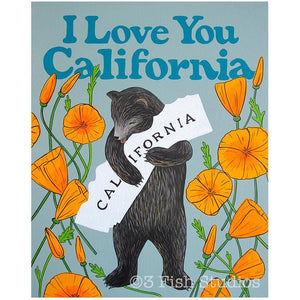 by 3 Fish Studios. California Bear Poppy I Love You Print features: 8-color UltraChrome K3™ inks on 300 gsm Hot Press Bright paper. Archival, highest possible quality. Watermark will not appear on print. Measures 8x10 inches. Also available in store at FOLD Gallery in DTLA.