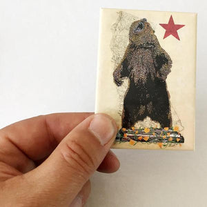By 3 Fish Studios. Beautiful, super strong California Rising Bear Magnet, made in the USA. Ready for your fridge or file cabinet! Measures 2.5 x 3.5 inches. Also available in store at FOLD Gallery in DTLA.