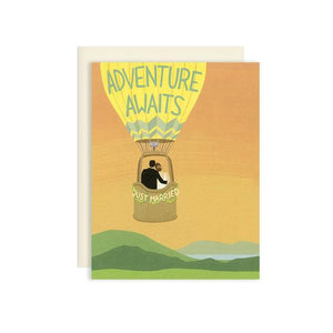 By Yeppie Paper. The Adventure Awaits Wedding Card is professionally printed in full color in Los Angeles. FSC-certified, recycled 110 lb. cover weight, soft white paper. Matching recycled soft white envelope. Blank inside with single color logo on back. Measures 4.25 x 5.5 inches. FOLD Gallery Dtla.