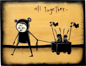 All together, 2015 Original Mixed Media Artwork by Walt Hall Measures 7.5 x 9.5 x 1 inches. Medium: Acrylic Paint & Mixed Media on Found Wood