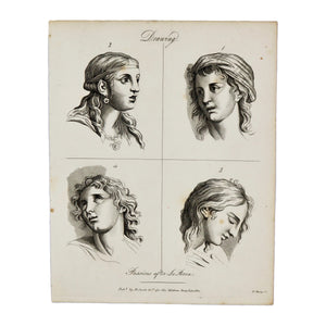 "Drawing (Passions After Le Brun 1)  Antique 1820 Engraving from ""The Modern Encyclopedia: The Latest Discoveries in each Department of Knowledge.""  1820s etching depicting a face from four different angles for drawing purposes.  Measures 10.5 x 8.25 inches."