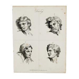 "Drawing (Angry Faces)  Antique 1820 Engraving from ""The Modern Encyclopedia: The Latest Discoveries in each Department of Knowledge.""  1820s etching depicting four angry faces for drawing purposes  Measures 10.5 x 8.25 inches"