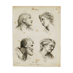"Drawing (The Ages)  Antique 1820 Engraving from ""The Modern Encyclopedia: The Latest Discoveries in each Department of Knowledge.""  1820s etching of four faces at different ages for drawing purposes.  Measures 10.5 x 8.25 inches"