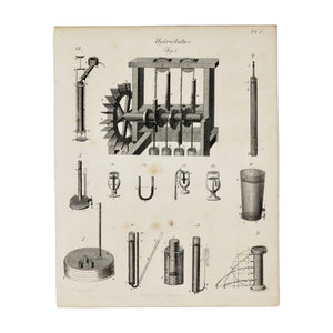 "Hydrostatics Plate 1  Antique 1820 Engraving from ""The Modern Encyclopedia: The Latest Discoveries in each Department of Knowledge.""  1820s etching depicting various tools related to the study of hydrostatics and water pumps.  Measures 10.5 x 8.25 inches."