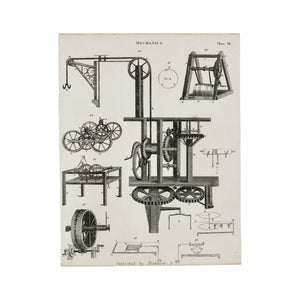 "Mechanics Plate III Antique 1820 Engraving from ""The Modern Encyclopedia: The Latest Discoveries in each Department of Knowledge."" 1820s etching of several mechanical devices, including pulley systems Measures 10.5 x 8.25 inches"