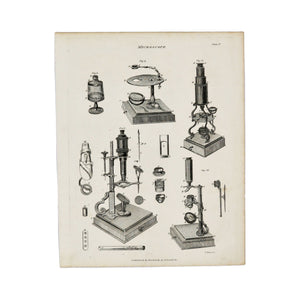 "Microscope Plate II  Antique 1820 Engraving from ""The Modern Encyclopedia: The Latest Discoveries in each Department of Knowledge.""  1820s etching depicting cross sections of early microscopes.  Measures 10.5 x 8.25 inches"