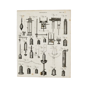 "Pneumatics Plate III  Antique 1820 Engraving from ""The Modern Encyclopedia: The Latest Discoveries in each Department of Knowledge.""  1820s etching depicting early tools for the study of pneumatics, particularly measuring air pressure.  Measures 10.5 x 8.25 inches."