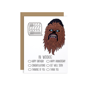 by Arthur's Plaid Pants. This Chewbacca Card is blank on the inside. Packaged with a recycled kraft envelope enclosed in an individual cello sleeve. Paper is 100% recycled, Green Seal Certified, Green-E Certified, FSC Certified, Carbon Neutral, Processed Chlorine Free, WWF Certified & Rainforest Alliance Certified.