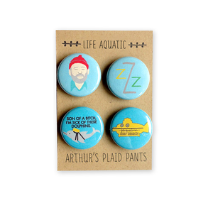 by Arthur's Plaid Pants. Life Aquatic 4 Piece Pinback Button Set: Steve Zissou Zissou logo, Son of a bitch, I'm sick of these dolphins, Jacqueline - Deep Search. Professionally printed on 100% recycled paper with UV protection to prevent fading. Made on professional button making press. Also available in store at FOLD Gallery DTLA.