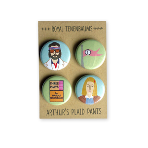 by Arthur's Plaid Pants. Royal Tenenbaum 4 Piece Pinback Button Set. Richie Tenenbaum, Tenenbaum flag, Three Plays by Margot Tenenbaum, Margot Tenenbaum. Professionally printed on 100% recycled paper with UV protection to prevent fading. Made on professional button making press. Also available in store at FOLD Gallery DTLA.