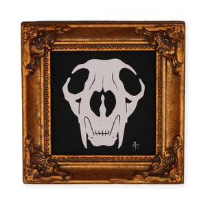 Bobcat Skull. Original Artwork by Ashley Fisher. It Measures 4 x 5 x .5 inches. Please note that due to everyone's monitor displaying differently, the colors you see may vary.
