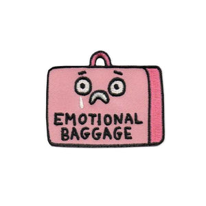 By Badge Bomb. Emotional Baggage Patch illustration by Gemma Correll. This iron on patch is packaged in a plastic free 4 x 5 hang card with UPC. Measures approximately 2.25 x 1.75 inches.
