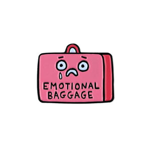 By Badge Bomb. Emotional Baggage Pin illustration by Gemma Correll. Measures 1 inch.