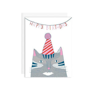 By Badge Bomb. Happy Birthday Cat Card: Blank Inside. Printed with soy ink in the USA. FSC certified 100% post-consumer recycled paper. Packaged in plastic sleeves with recycled envelope. Measures 4.25 x 5.5 inches - A2 size greeting card.