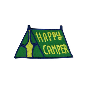 By Badge Bomb. Iron on Happy Camper Tent Green Patch by Kate Sutton. Comes packaged in individual hang bag. Measures 2.25 x 1.25 inches.