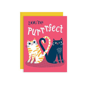 By Badge Bomb. You're Purrrfect Cats Card. Blank Inside. Printed with soy ink in the USA. FSC certified 100% post-consumer recycled paper. Packaged in plastic sleeves with recycled envelope. Measures 4.25 x 5.5 inches. A2 size greeting card. FOLD Gallery Dtla.