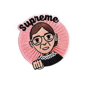 by Bored Inc. Embroidered Supreme RBG Ruth Bader Ginsburg Patch to iron-on or sew-on featuring the one and only Notorious RBG! Measures 3 x 3 inches. Also available in store at FOLD Gallery in DTLA.