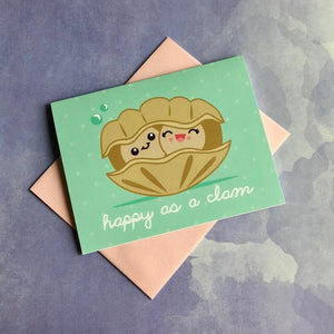 by Bored Inc. Super-cute Happy as a Clam Card. Perfect to send to someone you love! Card is blank inside and comes with pink envelope. Professionally printed using high quality, archival dye based inks on a heavyweight matte card. Measures 4 1/4 x 5 1/2 inches.