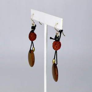 Walnut Discs - African Brass - Rudraksha Seeds - Black Silk Earrings
