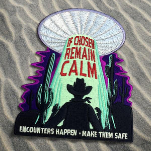 By Maiden Voyage Clothing Co. The Alien Abduction Glow in the Dark Patch available at FOLD Gallery