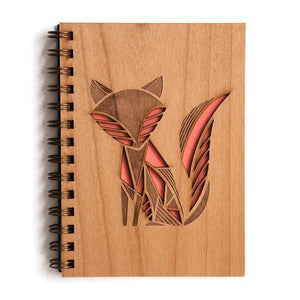 By Cardtorial. The Fox Journal is engraved using a laser cutter that precisely carves out each unique wood cover. Sourcing local sustainable wood and hand-binding each and every journal ensures all your brilliant ideas are stored for the long term. Measures 5.25 x 7.25 inches.