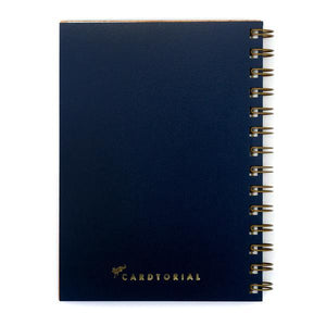 By Cardtorial. Pineapple Journal Details: 160 blank, unlined pages (80 sheets). Front cover laser cut from sustainable wood. Navy leatherette back cover with gold logo. Made in the USA from certified sustainable wood. Measures 5.25 x 7.25 inches. Also available in store at FOLD Gallery DTLA.