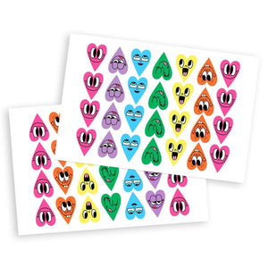 By Chris Uphues. The original Happy Hearts, in ultra glossy sticker form! Each Happy Heart Sticker Set includes... 6 heart styles, 28 stickers per sheet, 2 sheets per pack, 56 stickers total. Perfect for decorating your snail mail and your phone or for handing out to all of your favorite people.