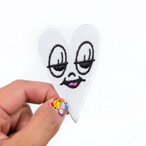 By Chris Uphues. High quality, 100% embroidered, iron-on Little Ghost Heart Patch. Measures approx. 2.5 x 1.5 inches. Also available in store at FOLD Gallery DTLA.