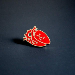 By City of Industry. An Anatomical Heart Pin with gold plating. Measures approximately 1.25 inch long.