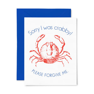 "By Color Box Design & Letterpress. Sometimes you just need to say you're sorry, this cute little crabby card is the perfect way! Sorry I Was Crabby Card details: Letterpress folded card, blank inside. 1 ply paper with deep impression. A2 size (4.125"" x 5.5""). Comes with envelope shown in a clear sleeve."