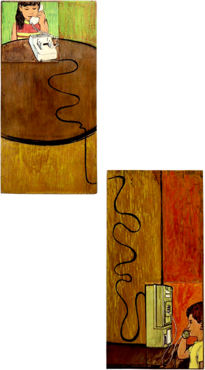 Communication, 2020  Original Mixed Media Artwork by Walt Hall  Each Panel Measures 8 x 4 x 1 inches.   Medium: Acrylic Paint & Mixed Media on Found Wood