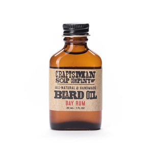 By Craftsman Soap Co. Bay Rum Beard Oil - Predominantly Caribbean bay leaf with additional lime and spices, this fragrance is extremely distinctive and masculine. Related to all spice, the Caribbean bay leaf exudes a spicy aroma that is truly unique. Contents: 1 fl oz or 30 ml. FOLD Gallery Dtla.