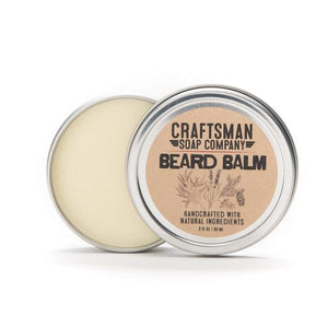 By Craftsman Soap Co. Beard Balm. Made from a blend of local beeswax, natural butters and oils, and a bright forest blend of essential oils, this beard balm is a great addition to the daily grooming of your well-kept beard. Order placed is for one tin of beard balm, net weight two ounces. FOLD Gallery Dtla.