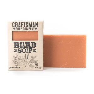 By Craftsman Soap Co. All-Natural Handmade Beard Bar Soap with Tea Tree, Cedar, Lavender & Spruce. For one bar of soap. Net weight 4 oz. Ingredients: Coconut Oil, Castor Oil, Shea Butter, Cocoa Butter, Olive Oil, Rosemary Leaf Extract, Tea Tree Essential Oil, Spruce Essential Oil, Lavender Essential Oil.
