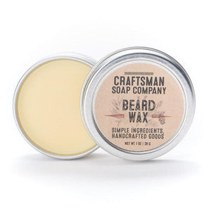 By Craftsman Soap Co. Beard Wax is made with local beeswax and essential oils. Order placed is for one tin of beard wax, net weight one ounce. Ingredients: Beeswax, Cocoa Butter, Kokum Butter, Argan Oil, Grapeseed Oil, Camellia Oil, Lanolin, Essential Oils.