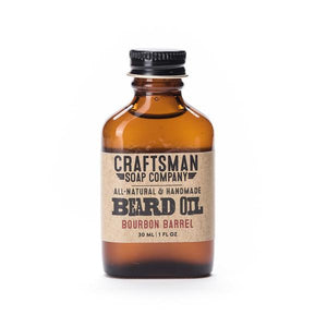 By Craftsman Soap Co. Bourbon Barrel Beard Oil features french oak cask extract paired with notes of citrus, cardamom, and vanilla to give a rich, woods-and-spice fragrance inspired by the complex bouquet that whiskey extracts from an oak barrel. 1 fl oz or 30 ml. Also available in store at FOLD Gallery in DTLA.