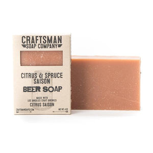 By Craftsman Soap Co. Citrus & Spruce Saison Beer Soap Ingredients: Coconut Oil, Olive Oil, Shea Butter, Beer, Lye, Castor Oil, Cocoa Butter, Fragrance*, Rosemary Leaf Extract***crafted exclusively with essential oils**an antioxidant that does not contribute to the fragrance. Net weight 4 oz | 113 grams. FOLD Gallery.