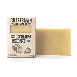 By Craftsman Soap Co. Handcrafted Vegan Citrus Zest Soap: A variety of citrus essential oils - lemon, grapefruit, lemongrass, and may chang - come together in this soap, rooted with a subtle base note of virginian cedar essential oil. Net weight 4 oz | 113 grams. Also available in store at FOLD Gallery, DTLA.